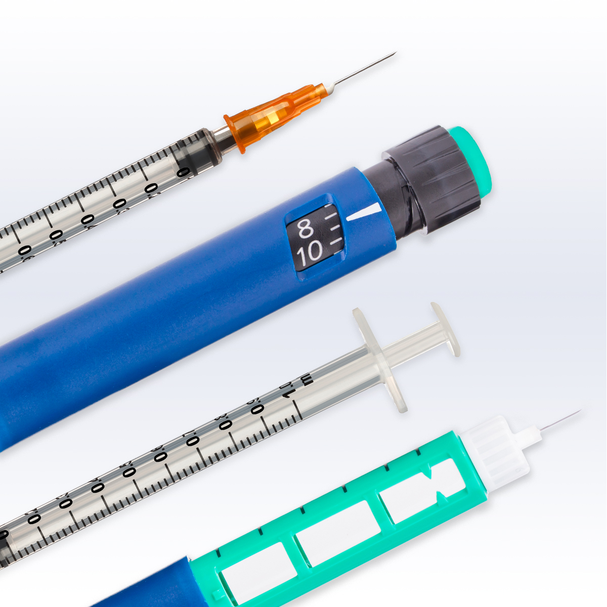 Insulin syringes and pens typically combine bolus insulin and basal insulin